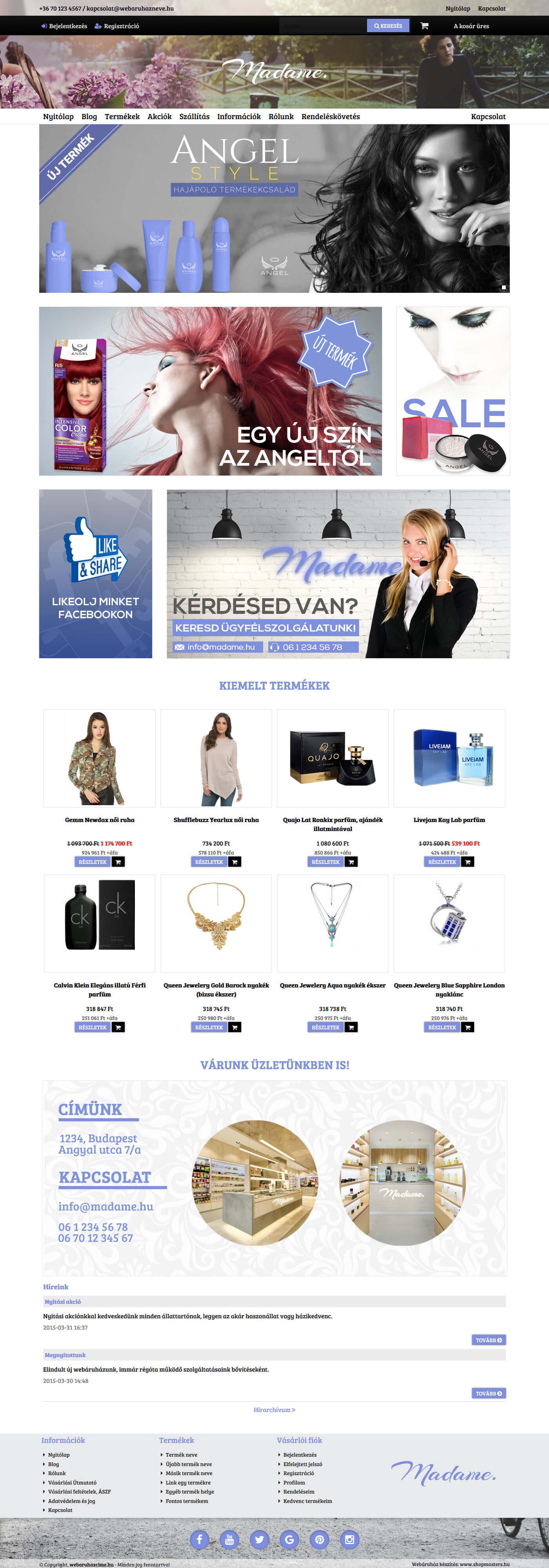 Clean webáruház webdesign, arculat