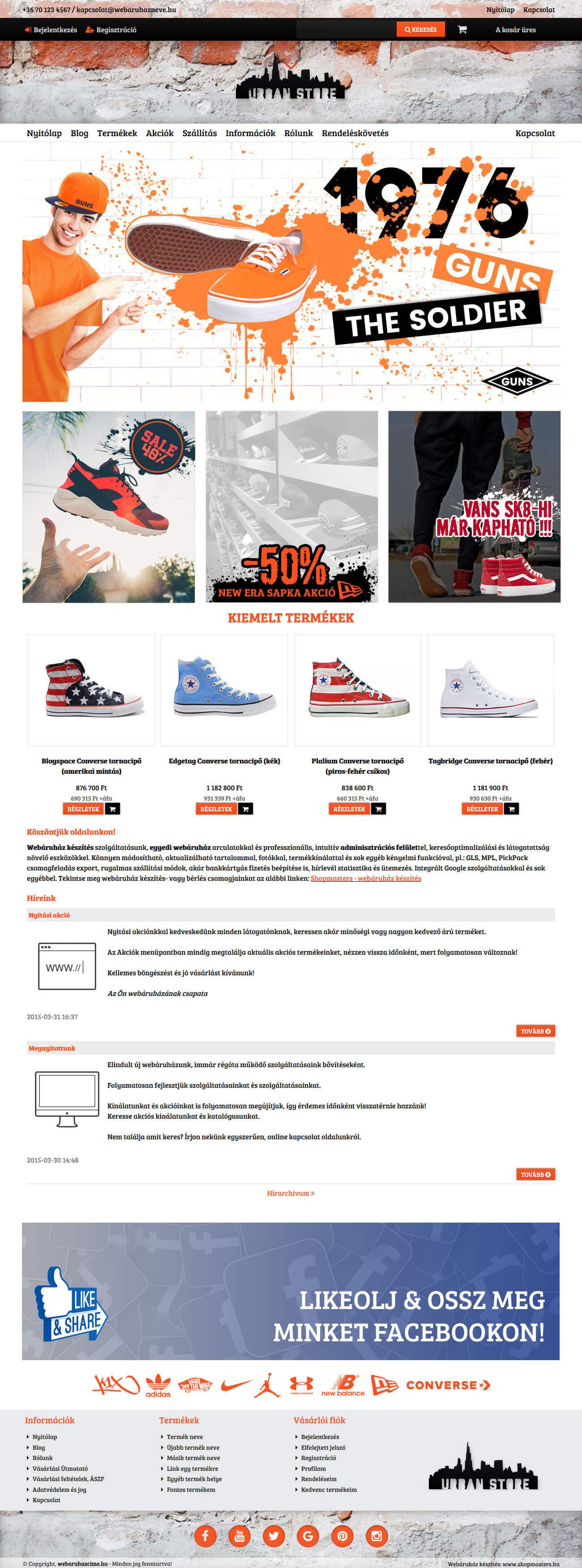 Urban webáruház webdesign, arculat