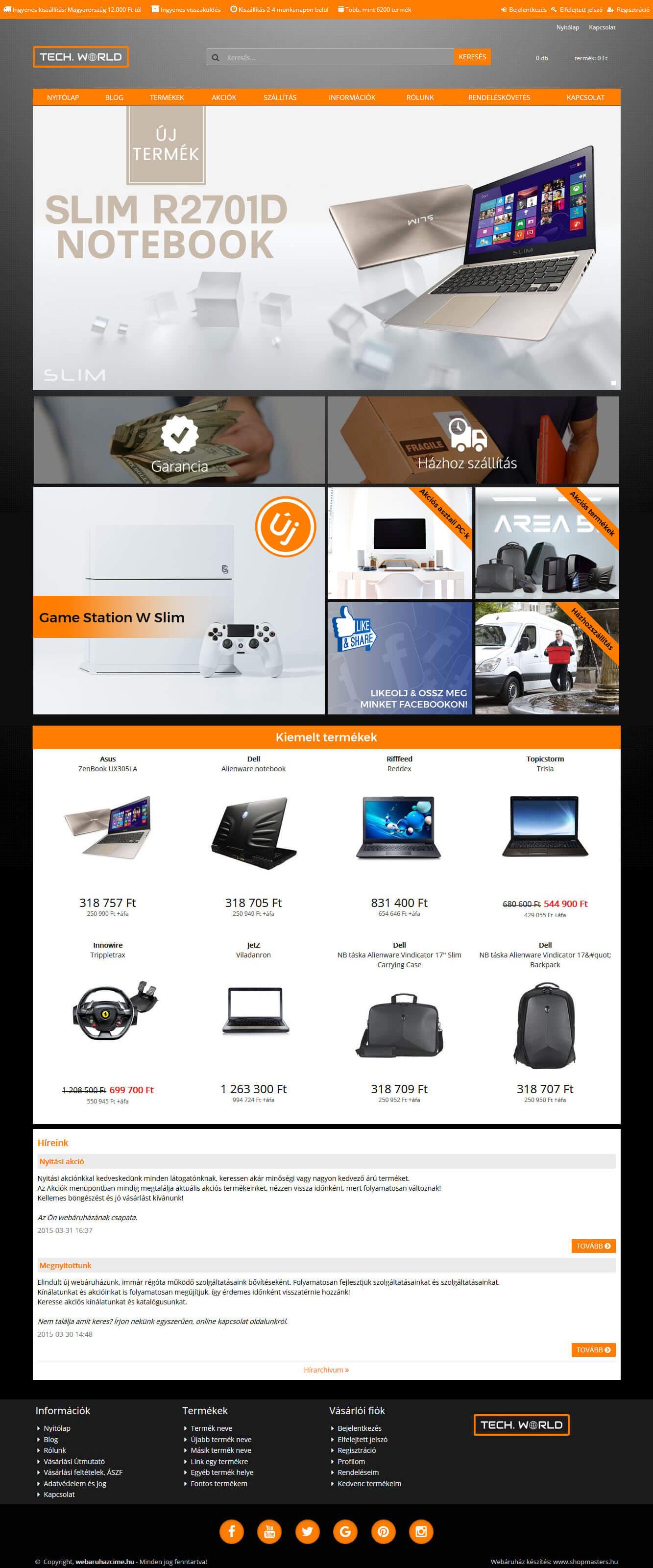 Tower webáruház webdesign, arculat