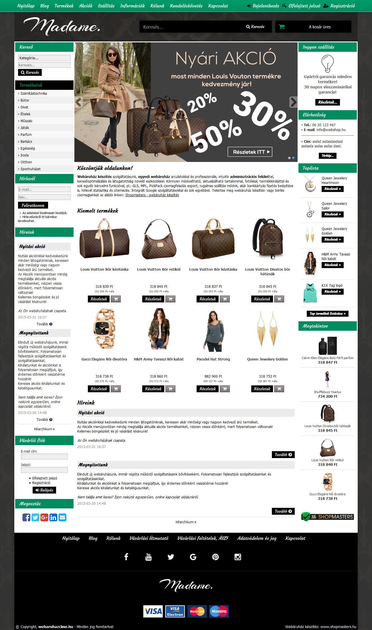 Smaragd webáruház webdesign, arculat