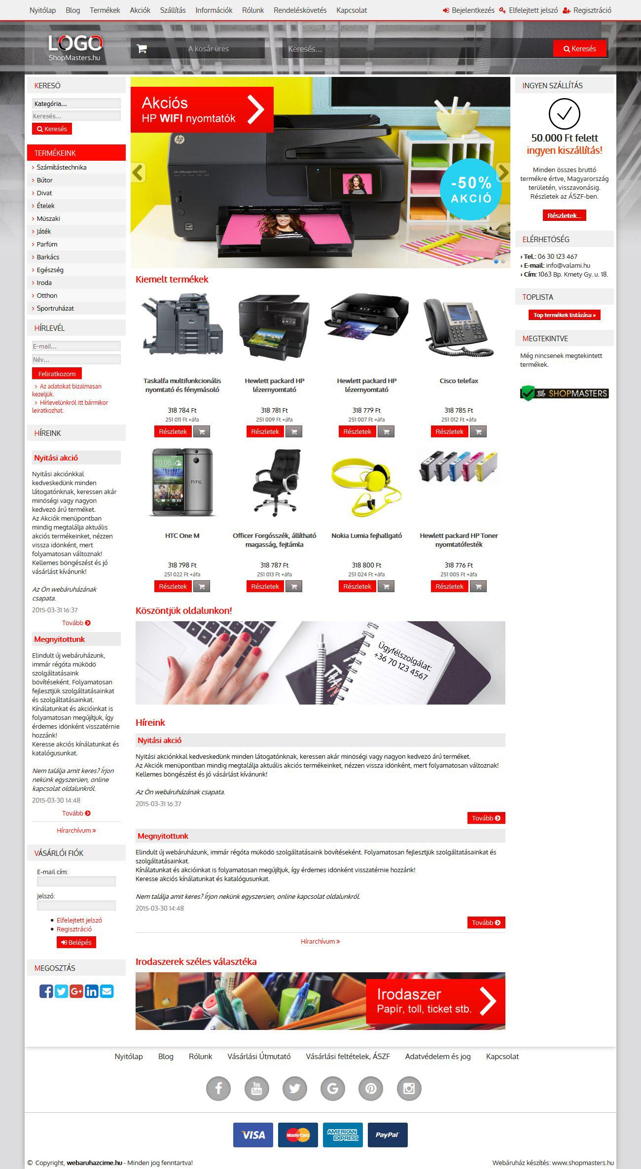 Office webáruház webdesign, arculat