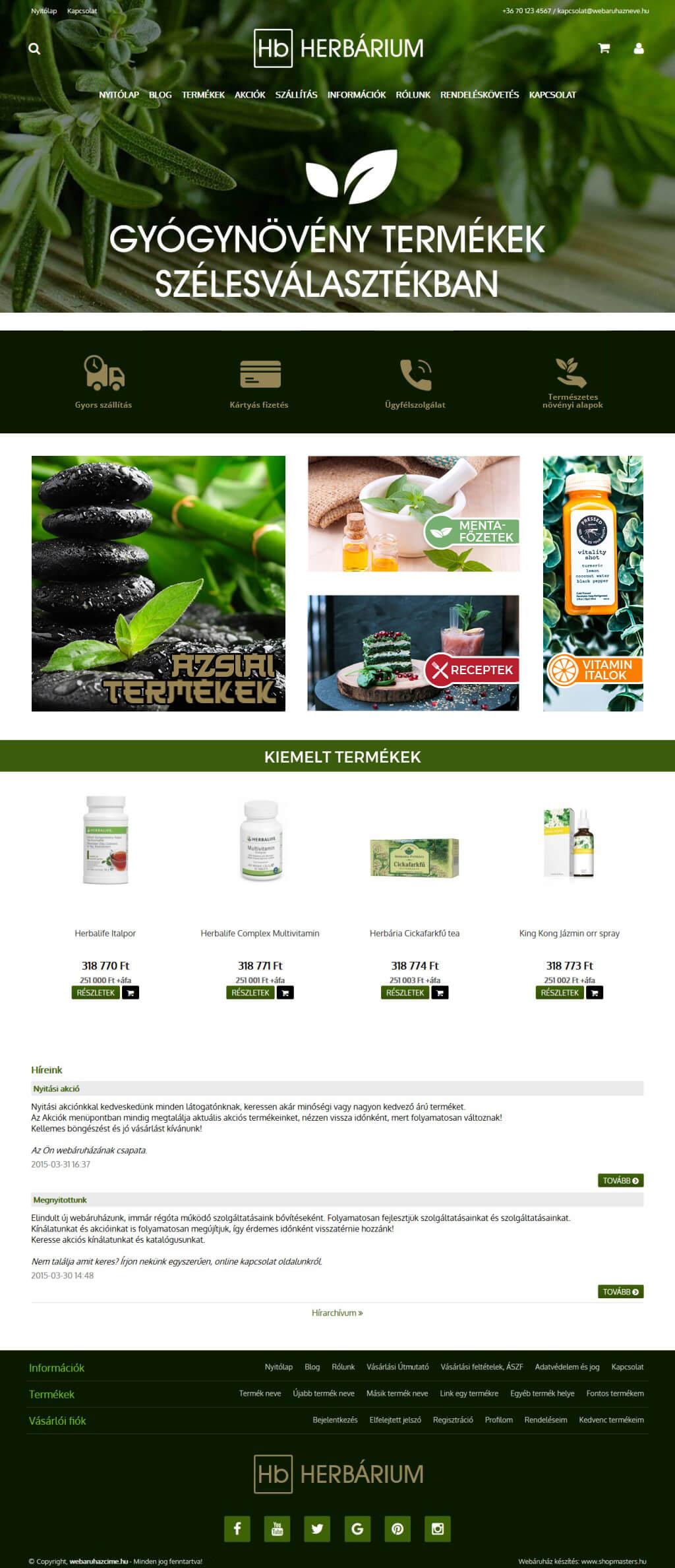 GreenBase webáruház webdesign, arculat