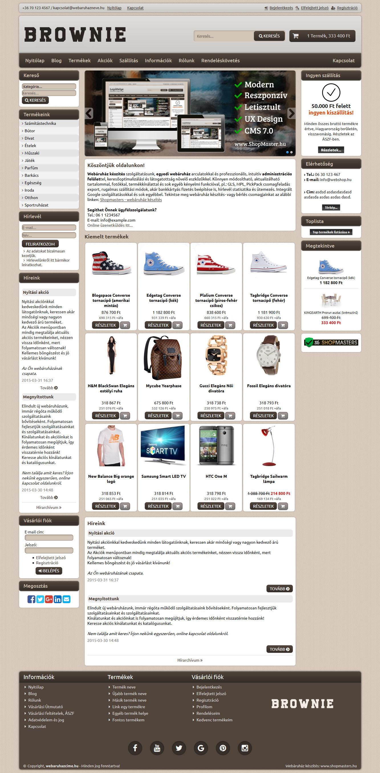Explorer webáruház webdesign, arculat
