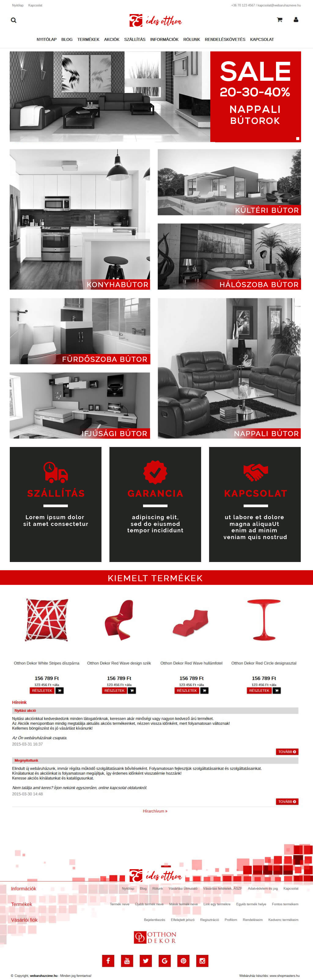 Sunrise webáruház webdesign, arculat