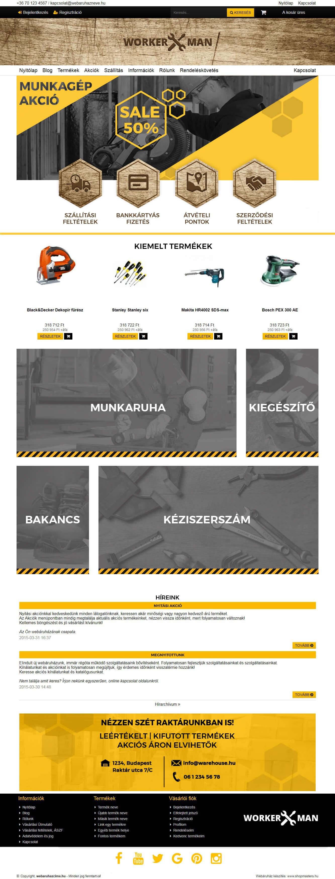 Sherwood webáruház webdesign, arculat
