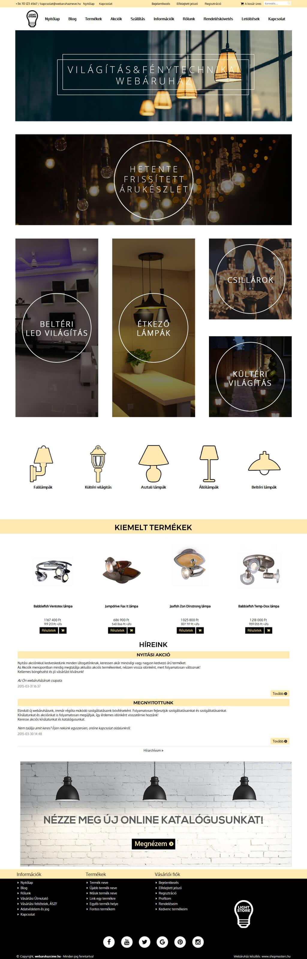 Lamp Store webáruház webdesign, arculat