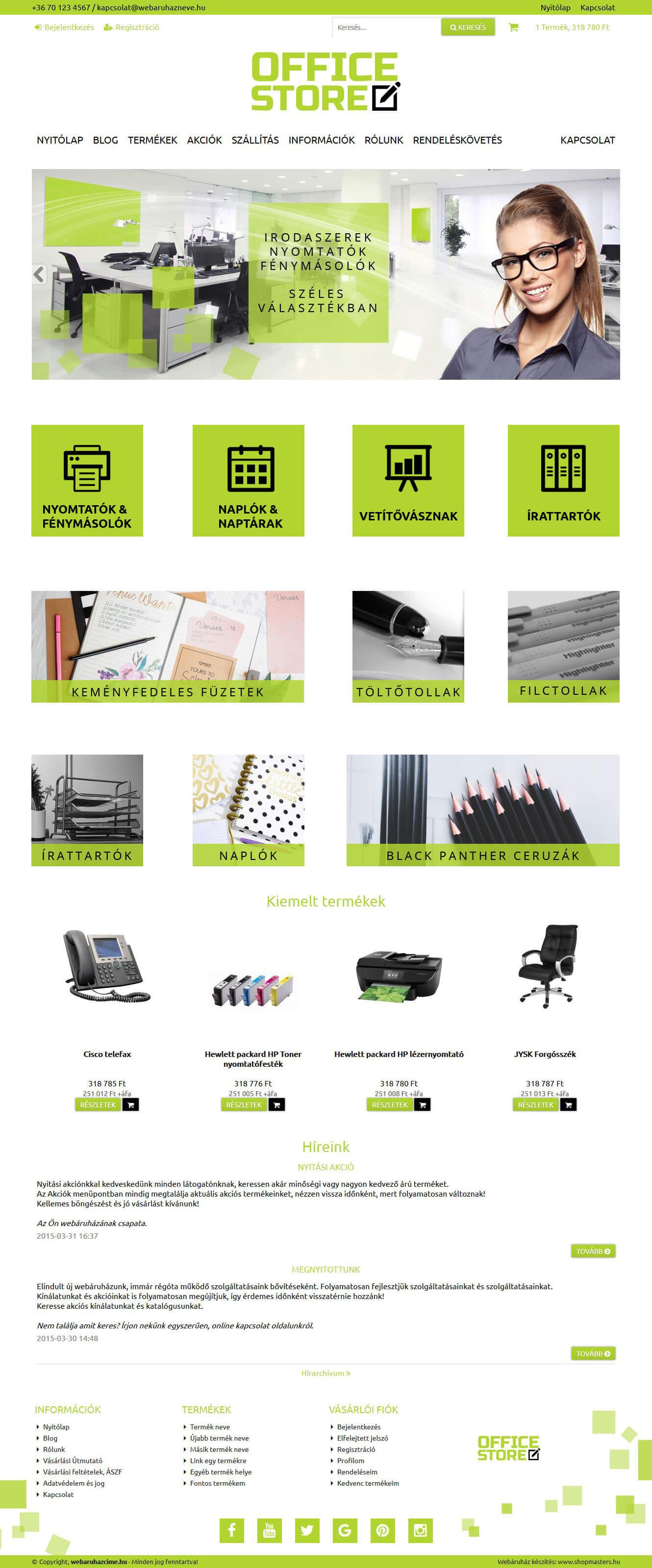 GreenOffice webáruház webdesign, arculat