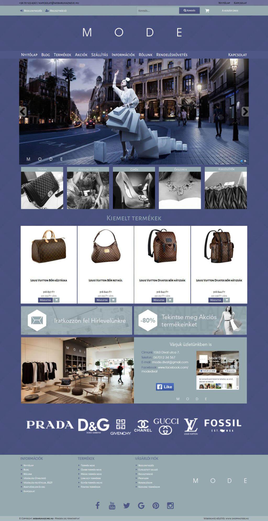 MODE webáruház webáruház webdesign, arculat