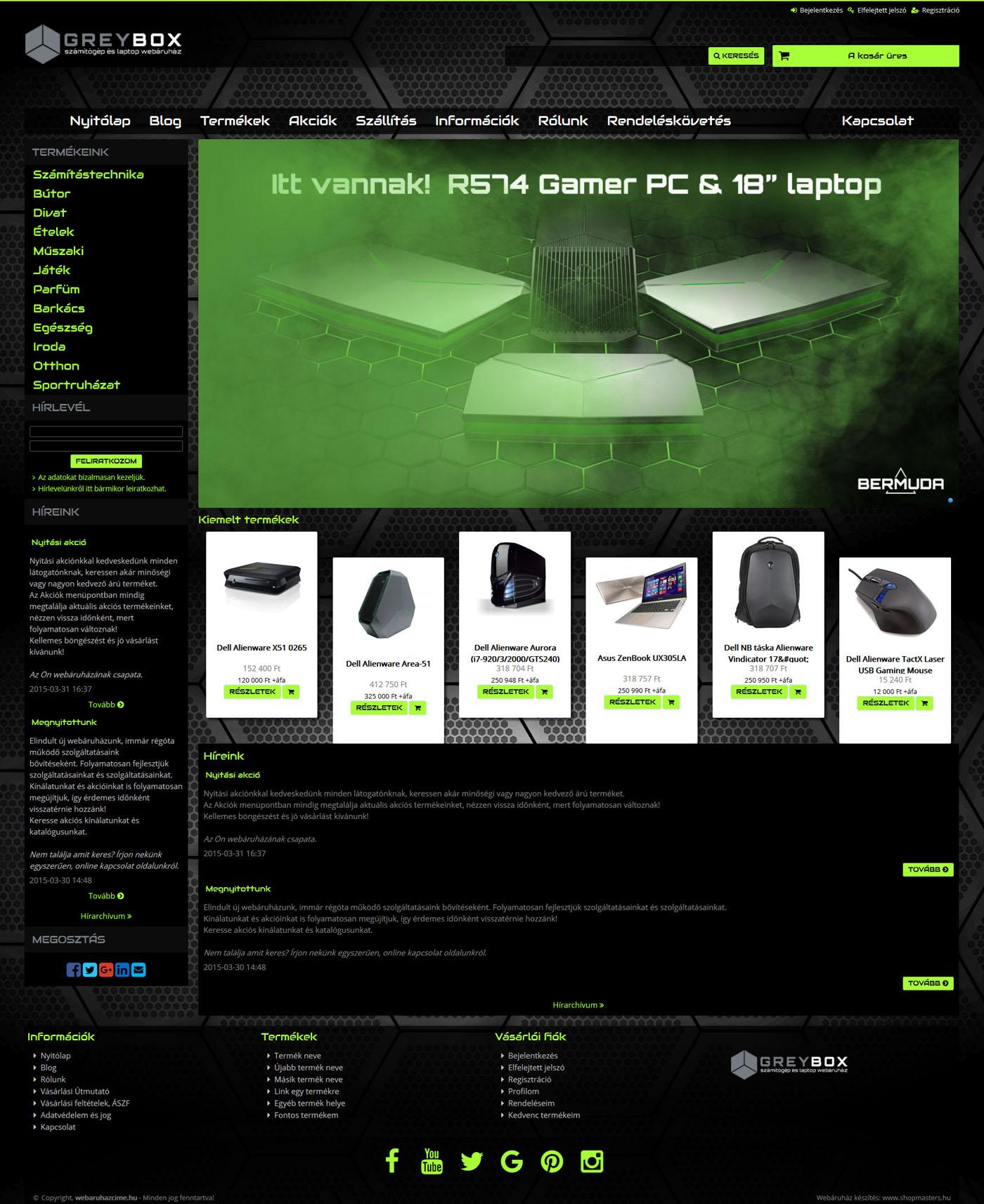 Greybox webshop webáruház webdesign, arculat