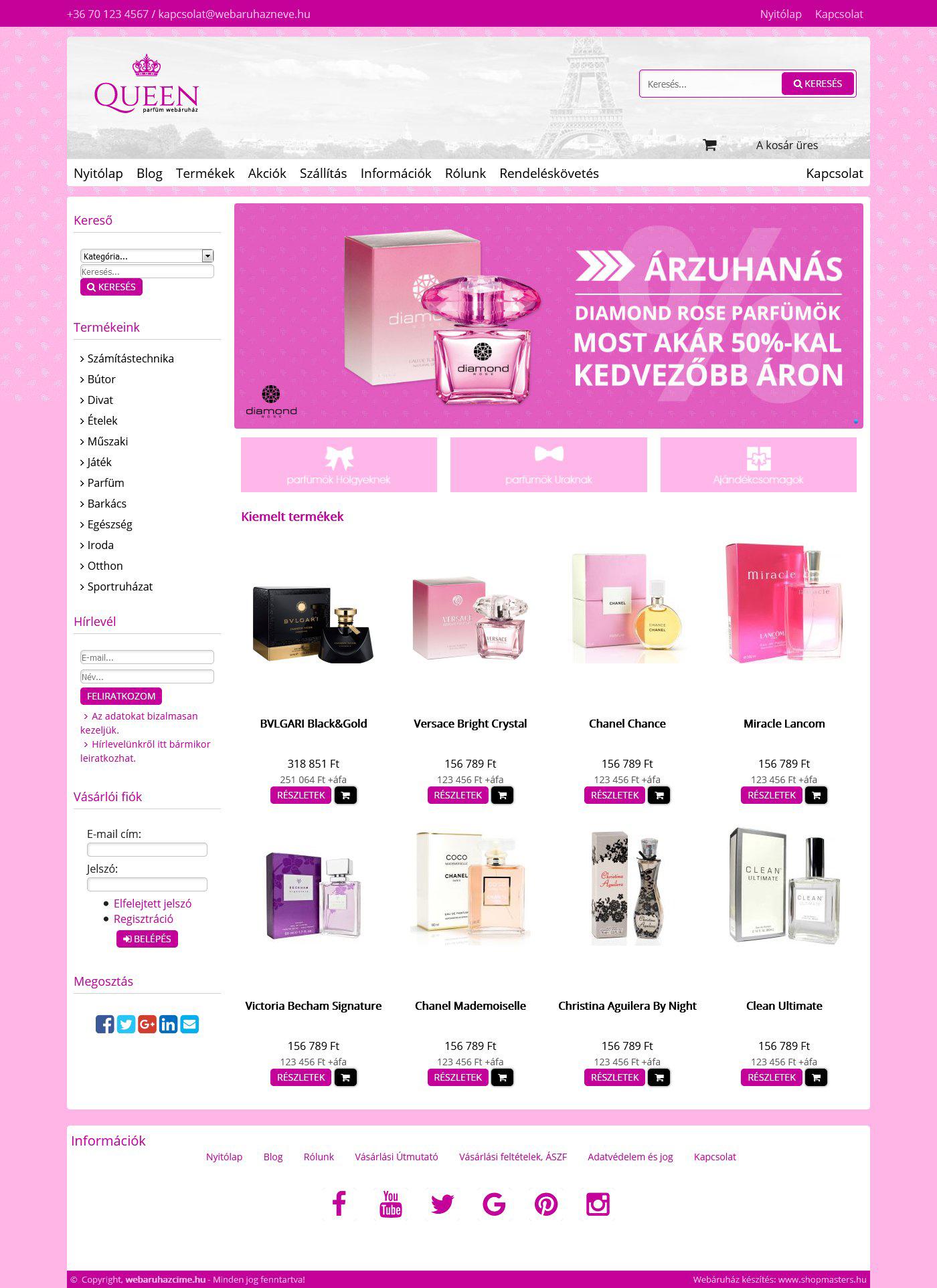 Queen webshop webáruház webdesign, arculat