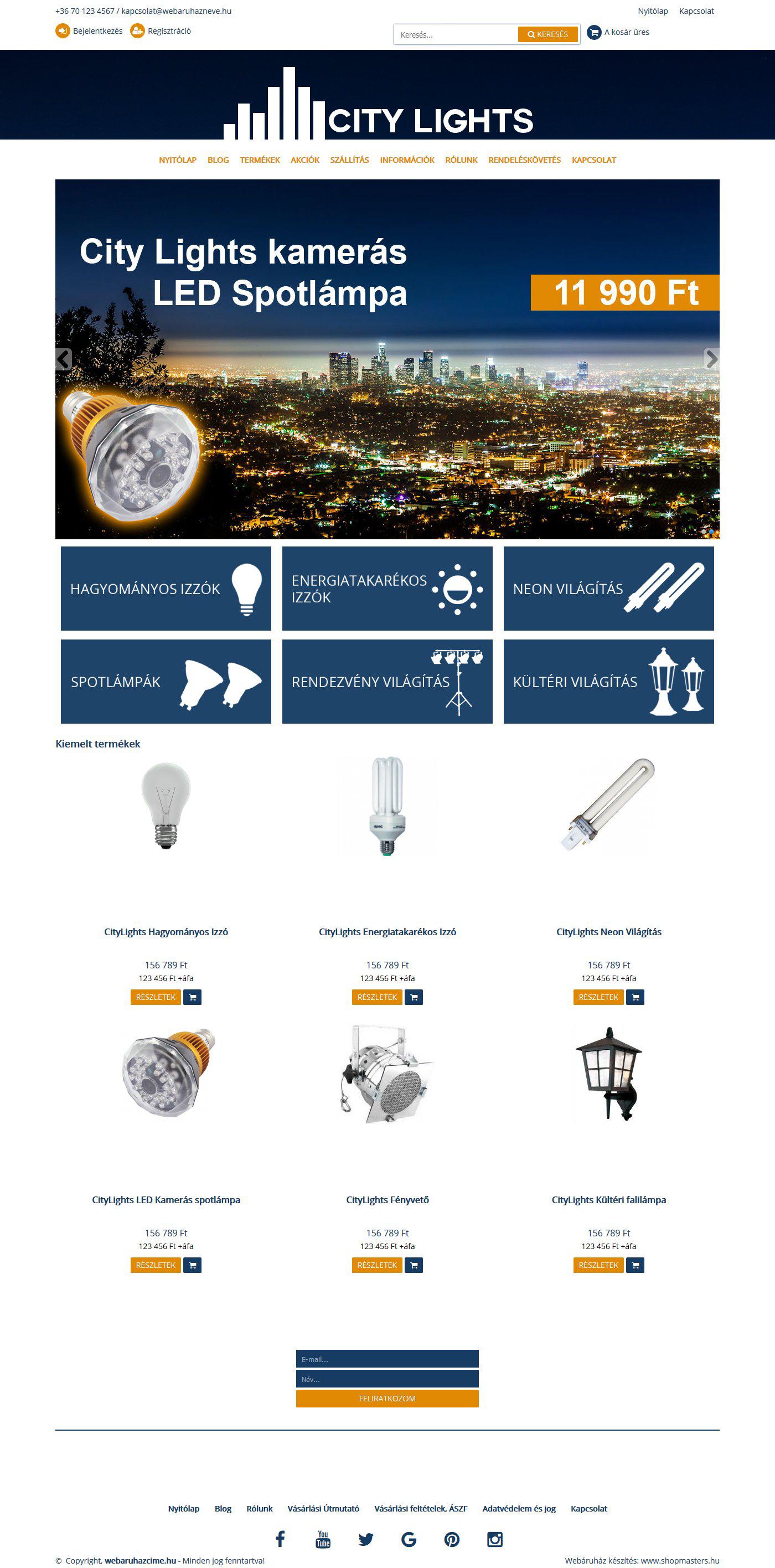 City Lights webshop webáruház webdesign, arculat