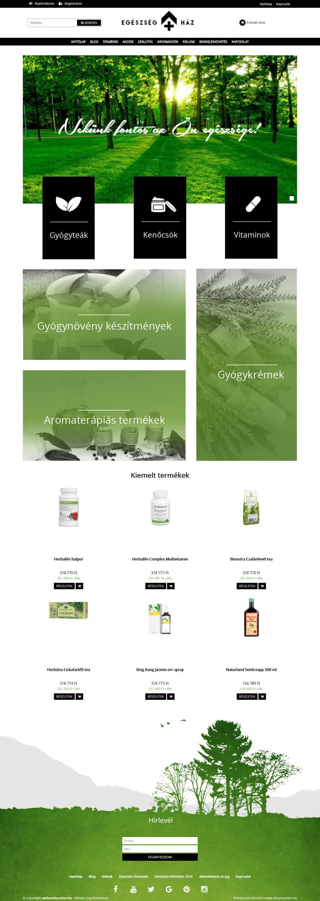 Egészség ház webshop webáruház webdesign, arculat