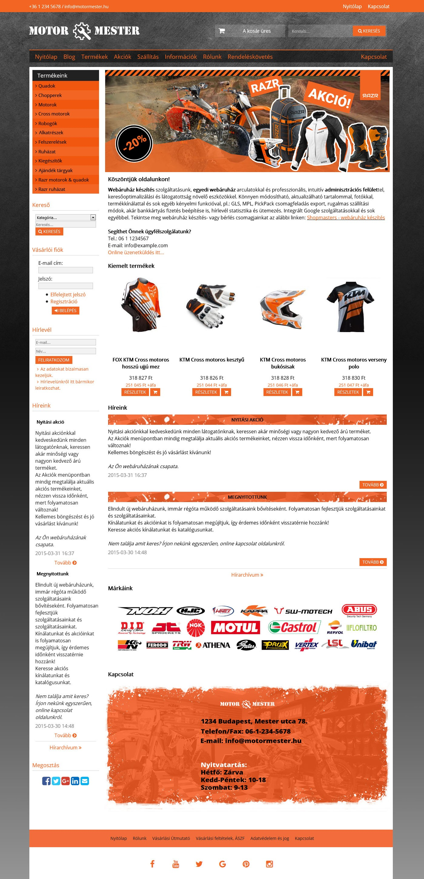 Motor mester webshop webáruház webdesign, arculat