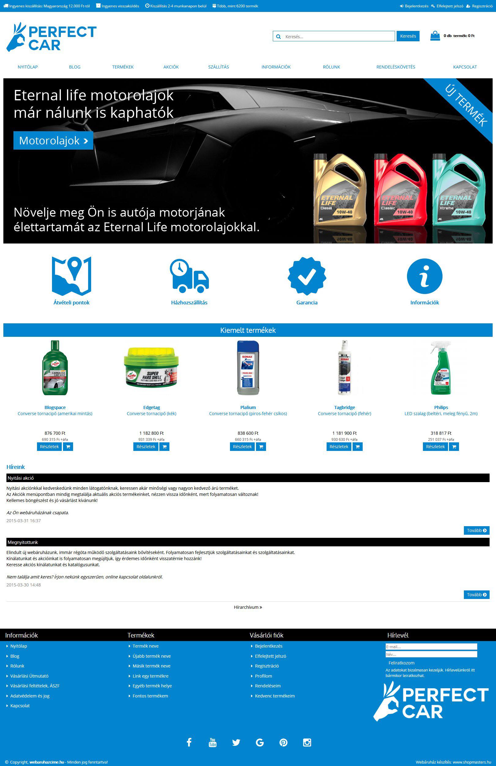 Perfect car webshop webáruház webdesign, arculat