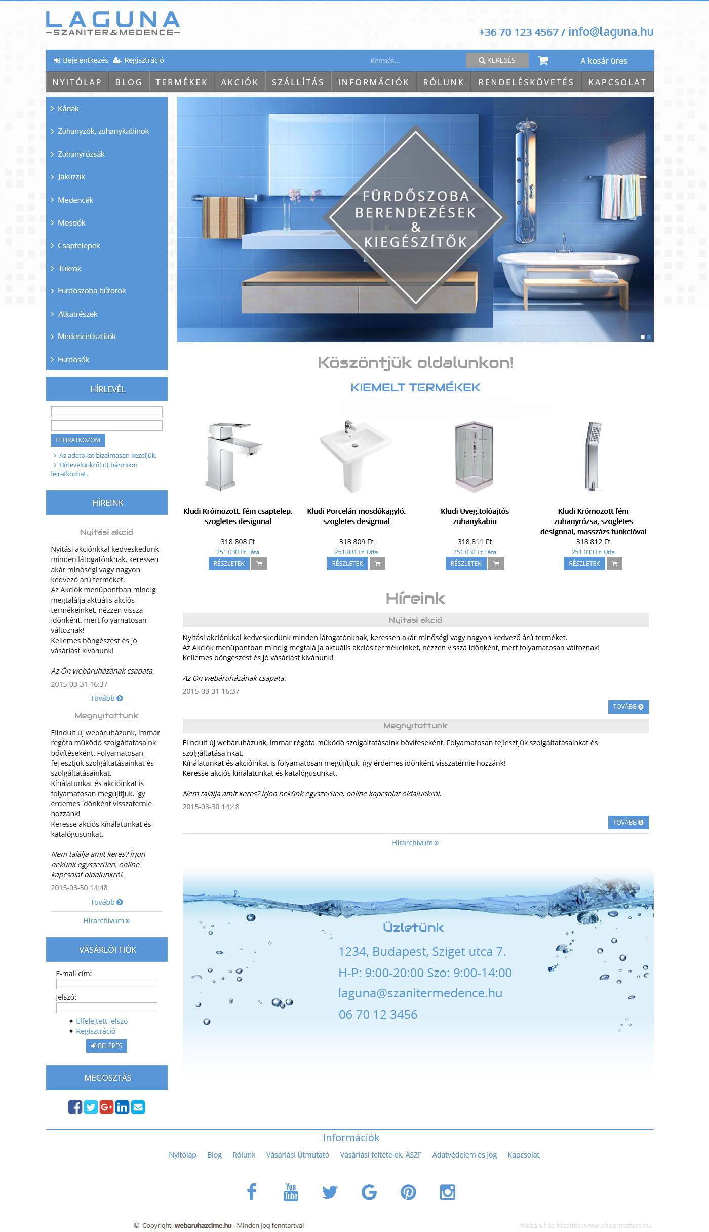 Laguna webshop webáruház webdesign, arculat