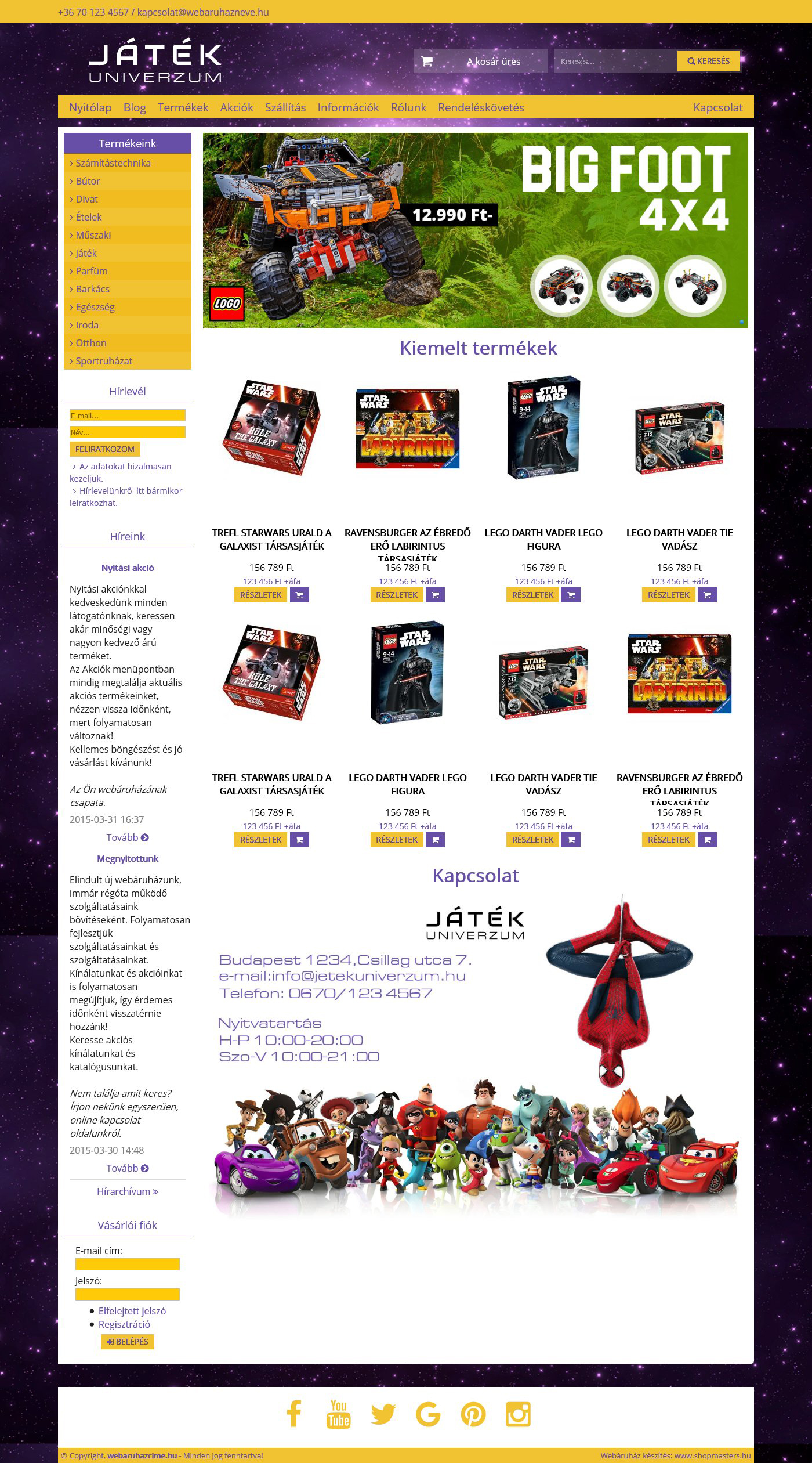 Játék univerzum webshop webáruház webdesign, arculat