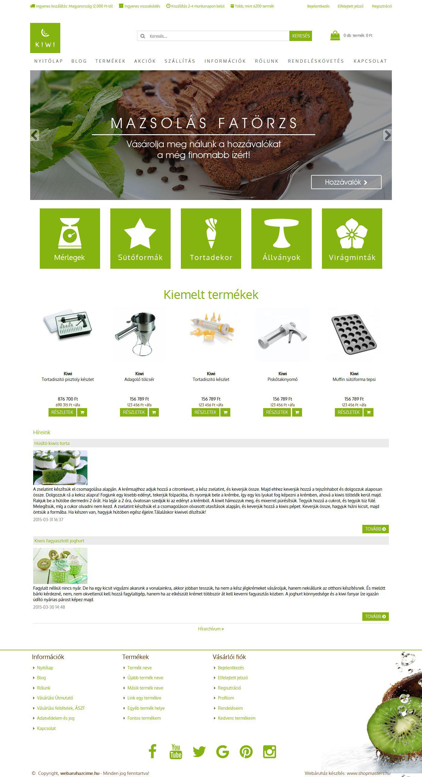 Kiwi webshop webáruház webdesign, arculat