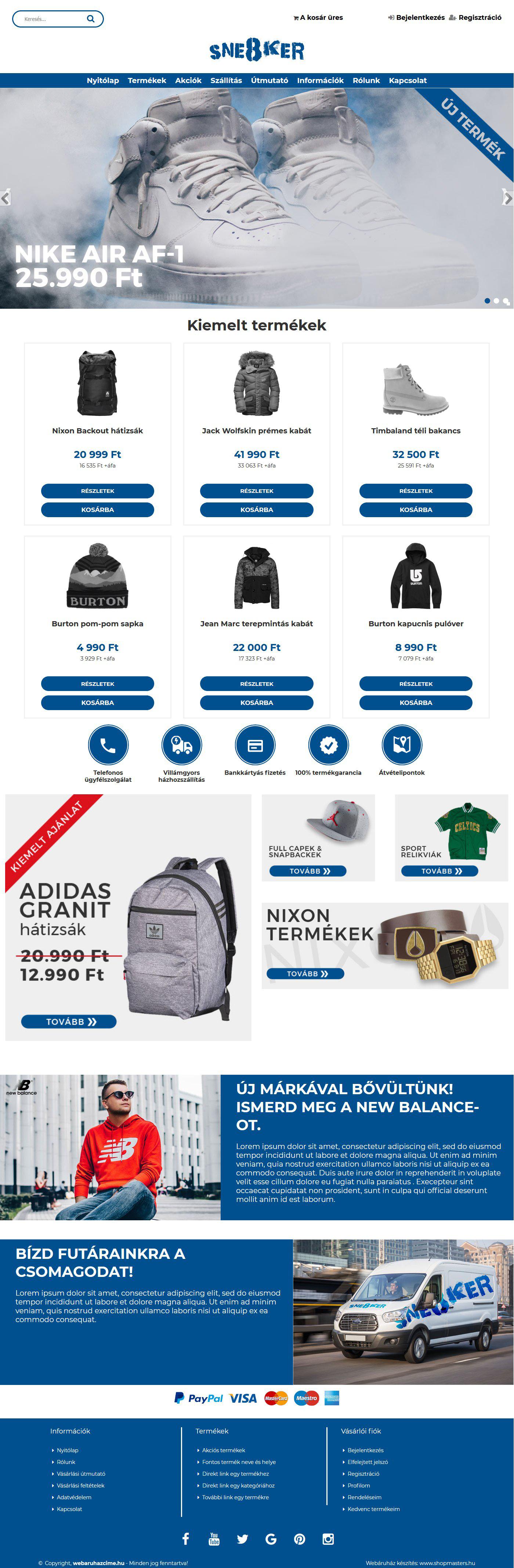 Sneaker webáruház webdesign, arculat
