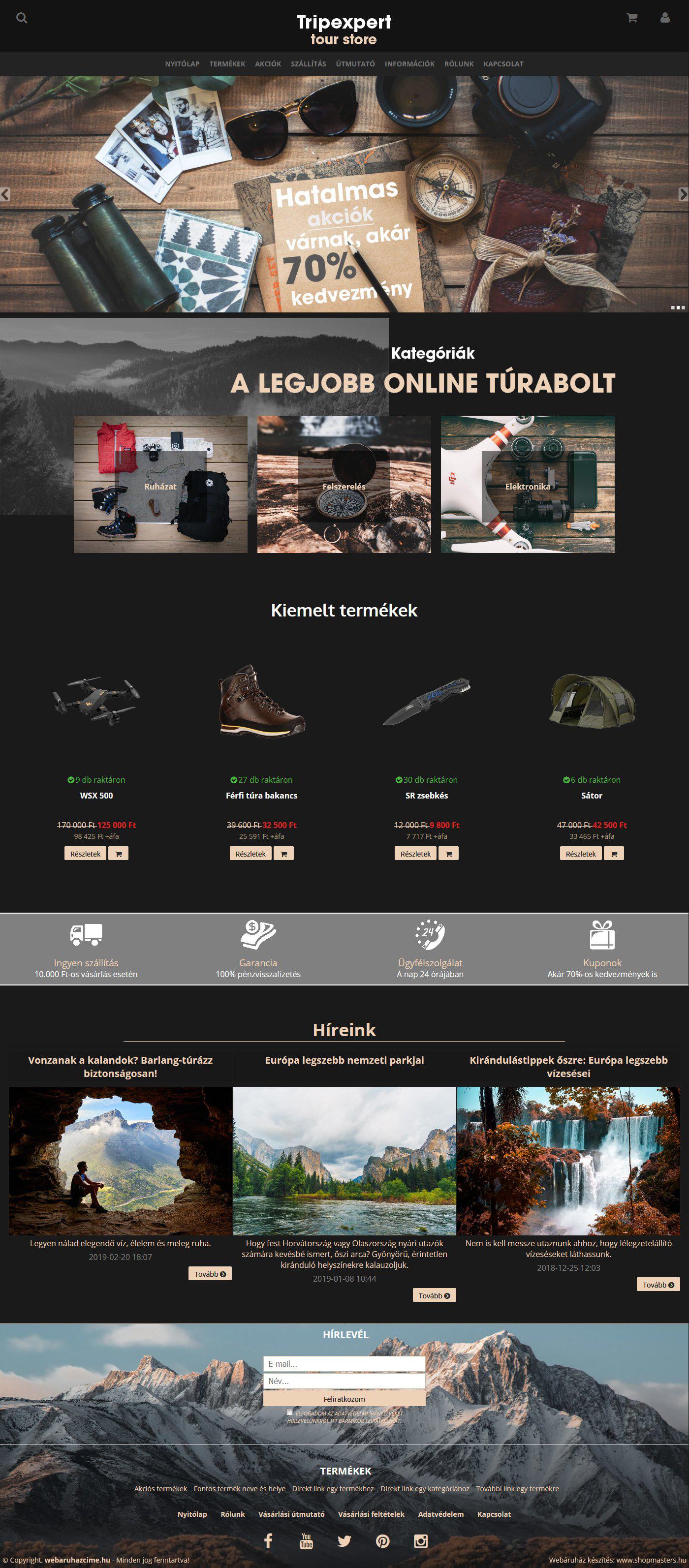 Tripexpert webáruház webdesign, arculat