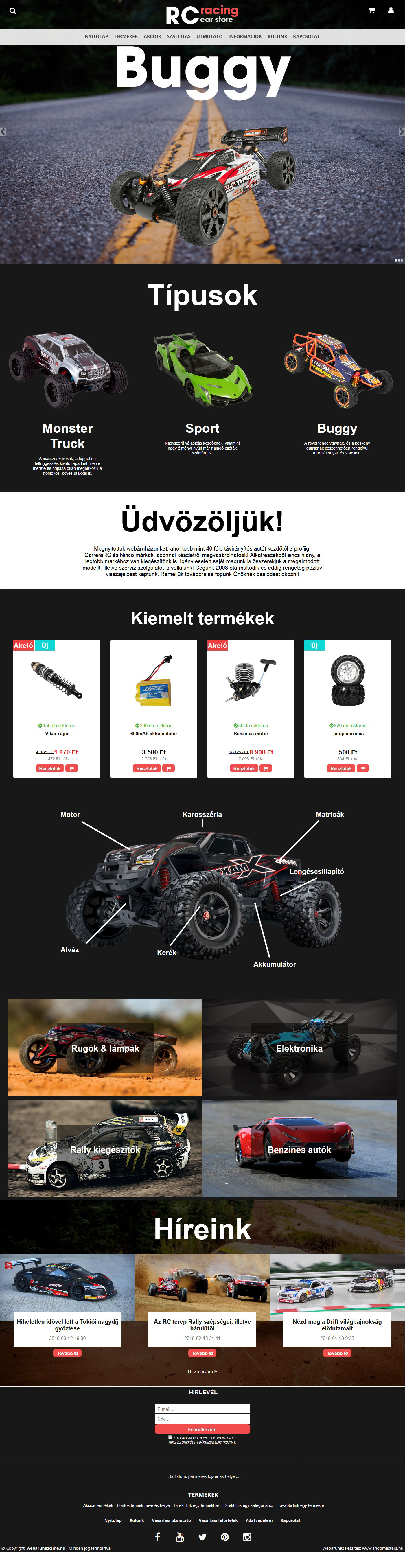 RC Racing webáruház webdesign, arculat